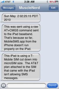 SMS on iPad 3G