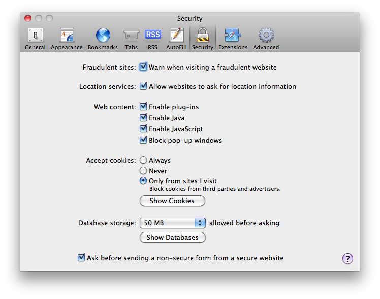 Keep safari pure by disabling plug ins and javascript macgasm in ccuart Choice Image