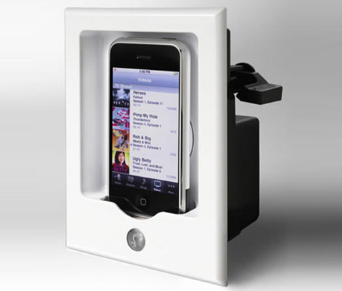 iphone wall mount in wall iphone mount for your home theatre macgasm 3352
