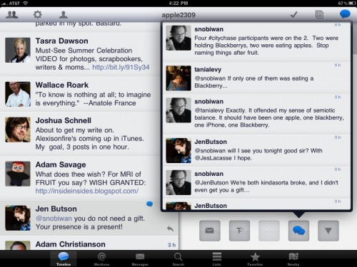Osfoora Conversation View 500x375 A Little Bird Told Me: Osfoora HD—A Unique and Beautiful Twitter Client for iPad