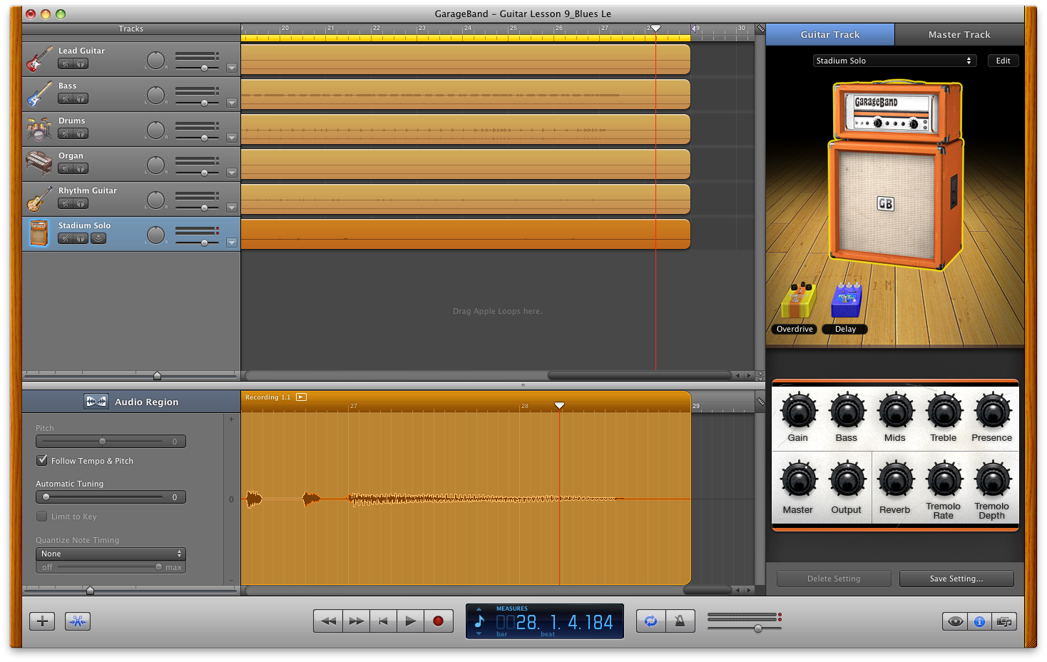 how to make a sound longer in garageband