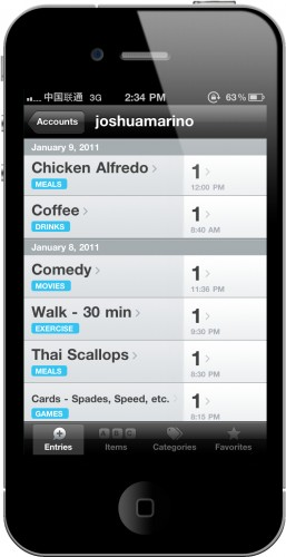 A view of daily entries in the Daytum app
