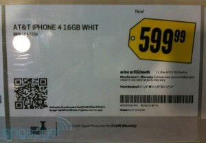 White iPhone 4 shelf tags spotted in US and Canada retailers