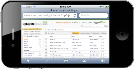 Amazon Cloud Player in iPhone 4 screenshot