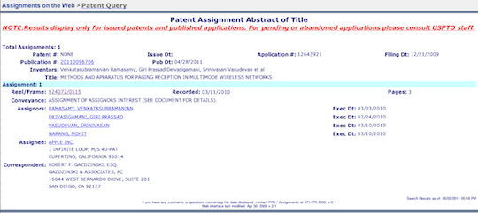 Apple's Paging Patent Screenshot