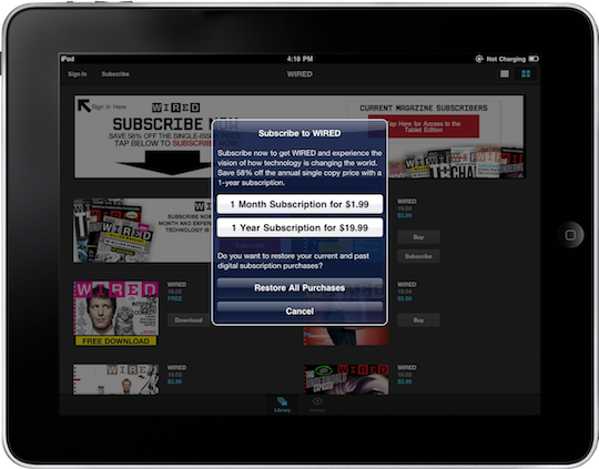 Wired iPad Subscription Screen.