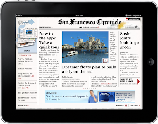 San Francisco Chronicle iPad App Screenshot