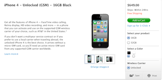 Unlocked iPhone 4 Text