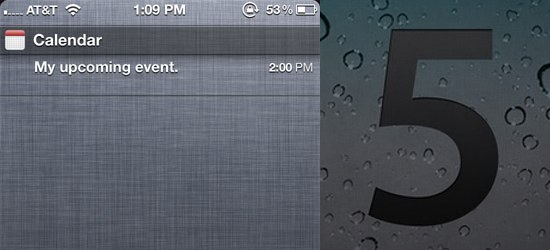 iOS 5 beta 2 Notification Center shows calendar events for next 24 hours