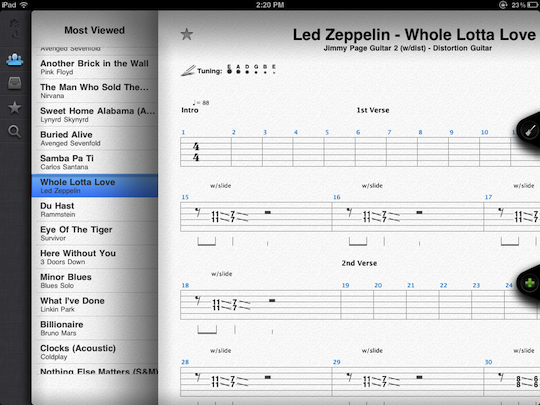 Songsterr, bringing guitar tabs into the iPad age