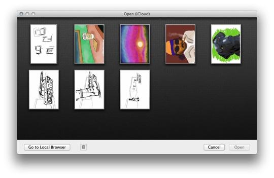 SketchBook Pro with iCloud browser