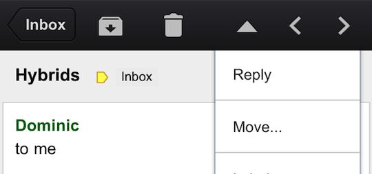 Screenshot of Gmail on iOS
