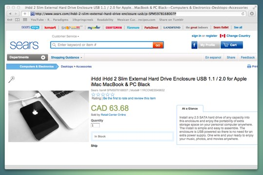 Sears selling an Apple branded external hard drive enclosure. Wait, what?