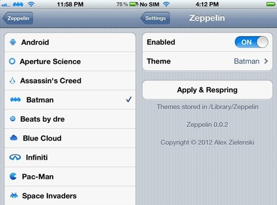 cydia zeppelin lets you change your carrier logo in ios