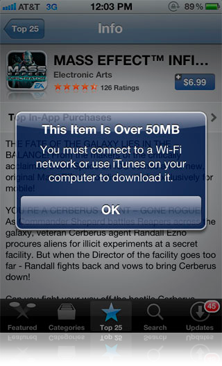 Apple increases over the air App Store download limit to 50MB