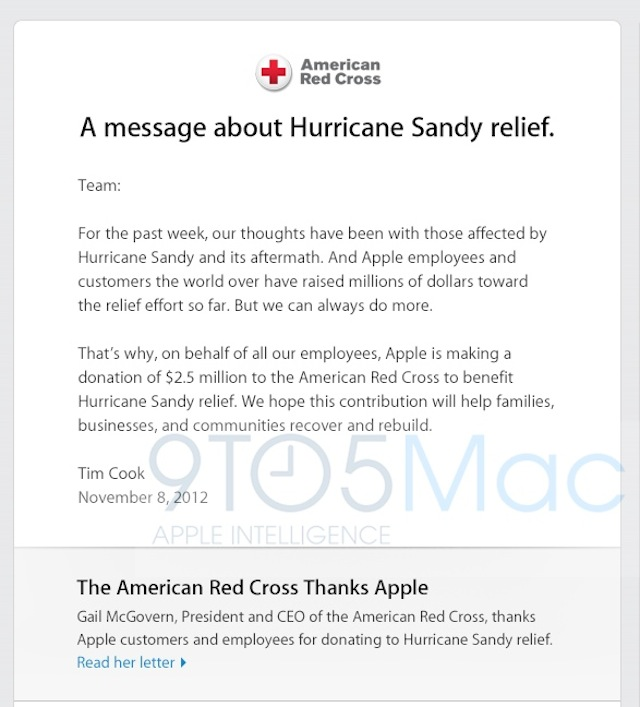 Apple Is Donating $2.5 Million To Ongoing Hurricane Sandy Relief Efforts