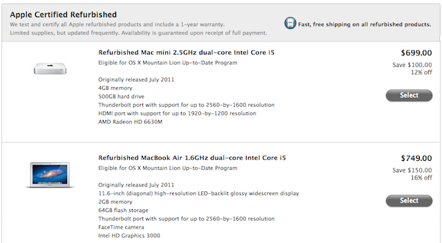 Apple Discounts 2011 Mac Mini, MacBook Air On Refurbished Store