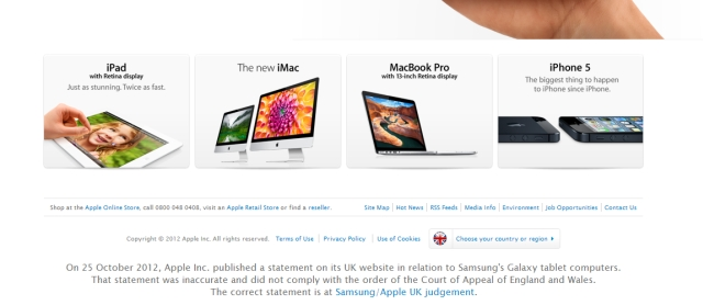 Apples Apology To Samsung Deemed Unsatisfactory, UK Website Front Now Has New Statement