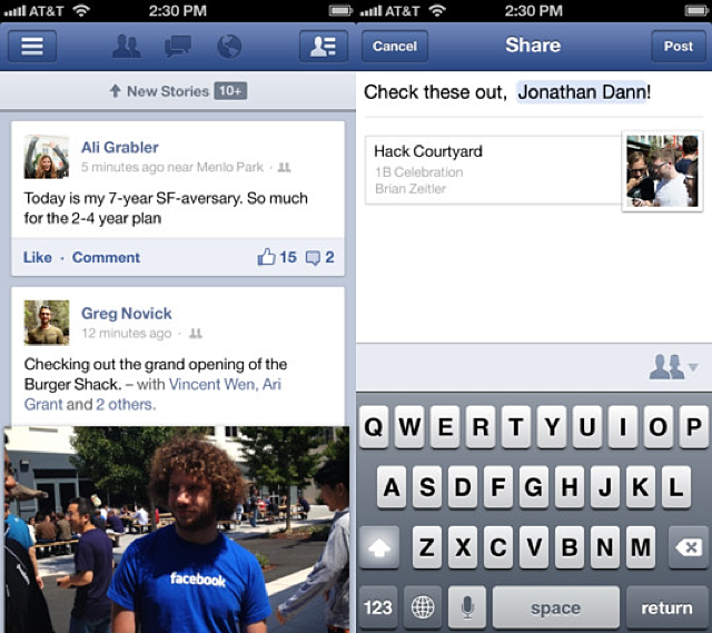 Facebook 5.2 Released For iOS, Adds Reposting, Sharing Features