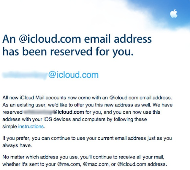 Apple Notifies Former MobileMe Users Of New iCloud.com Email Addresses