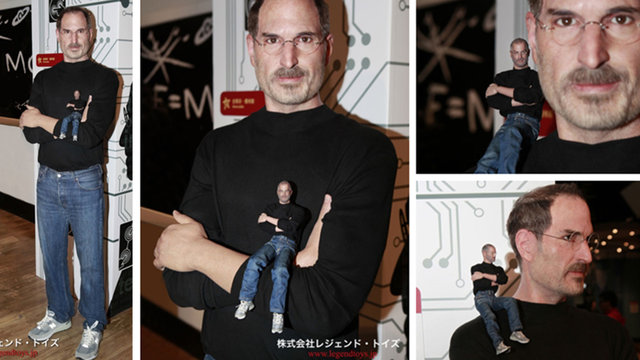 Mini Steve Jobs Action Figure Teams Up With Life Size Steve Jobs Wax Model To Bring You Nightmares
