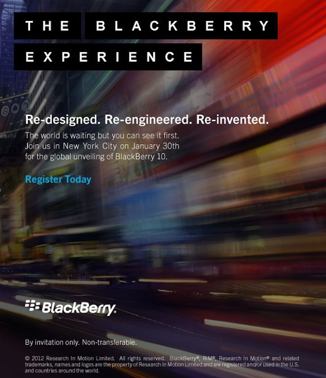 RIM Sending Invites To BlackBerry 10 Launch Event January 30th In NYC