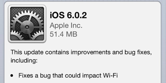 Apple Releases iOS 6.0.2 With Wi Fi Fixes