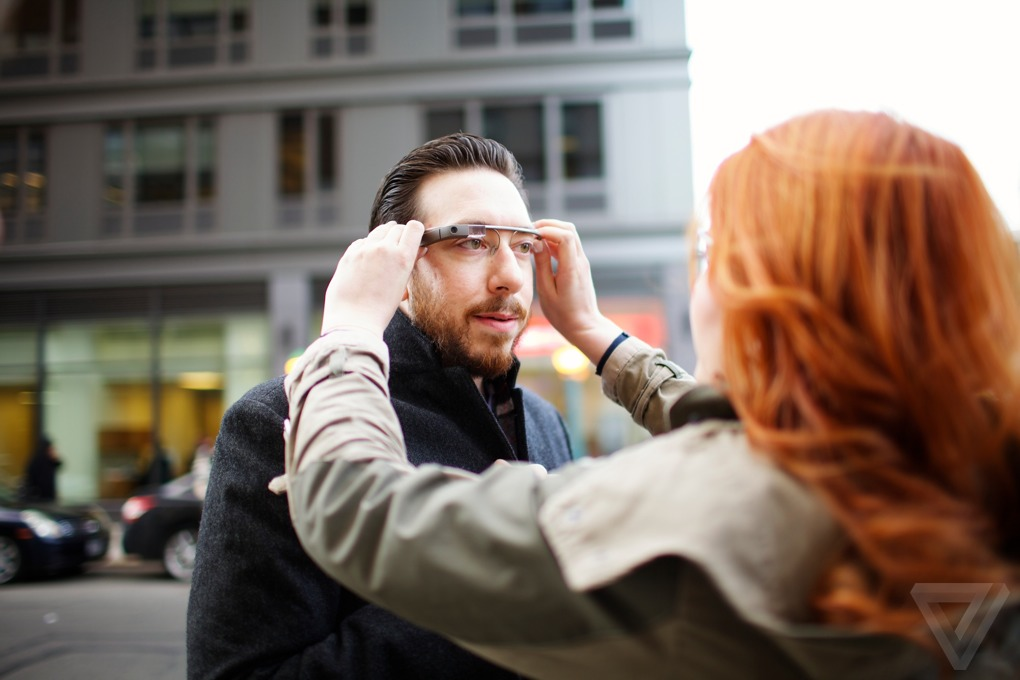 The Verge's Joshua Topolsky with Google Glass
