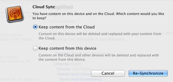 Instacast Cloud Sync Reset