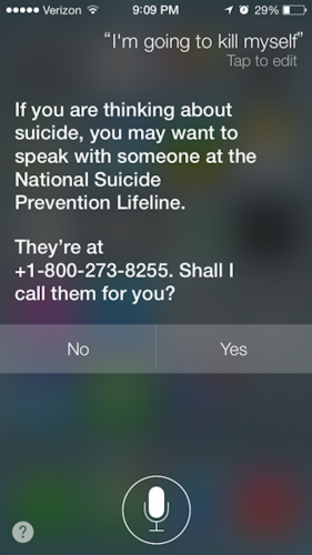 Siri Now Offers More Help When Suicide References Are Made