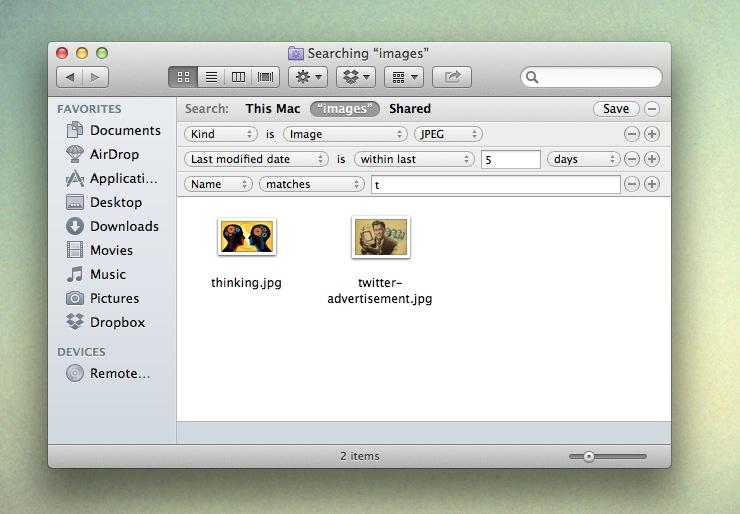 OS X Smart Folders