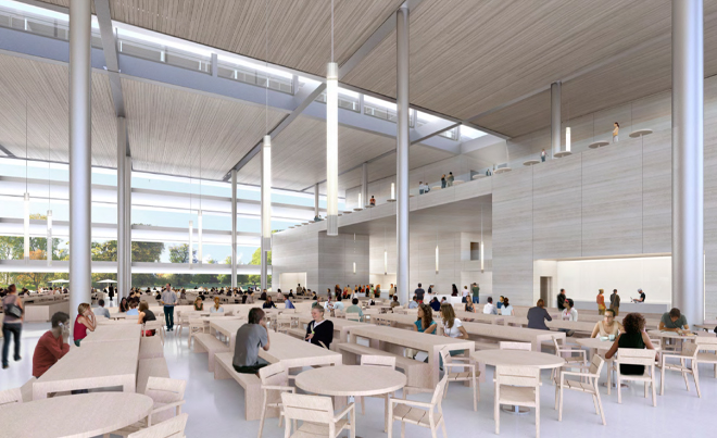 Massive employee cafeteria.