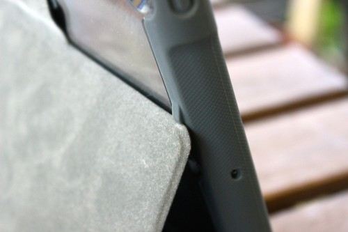 Small, protruding nubs hold the cover in place when used as a stand.