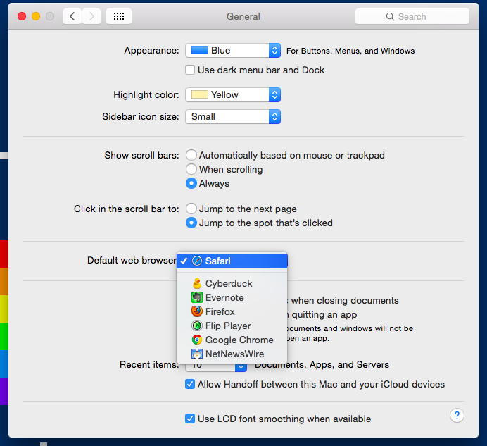 You can set your default web browser on OS X. Why not on iOS?
