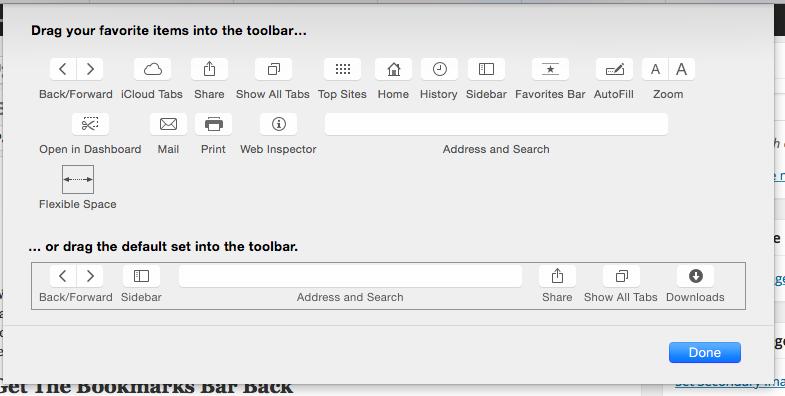 Safari's toolbar customization options.