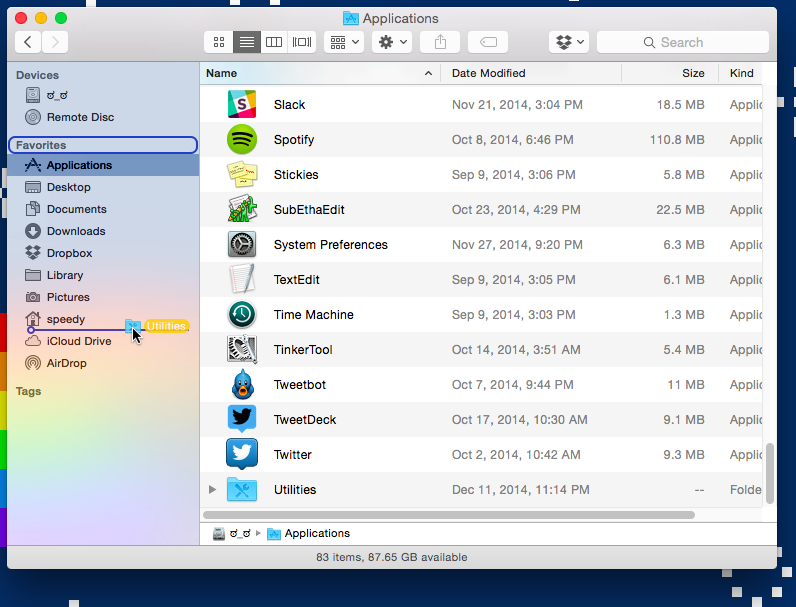 Dragging the Utilities folder into the sidebar.