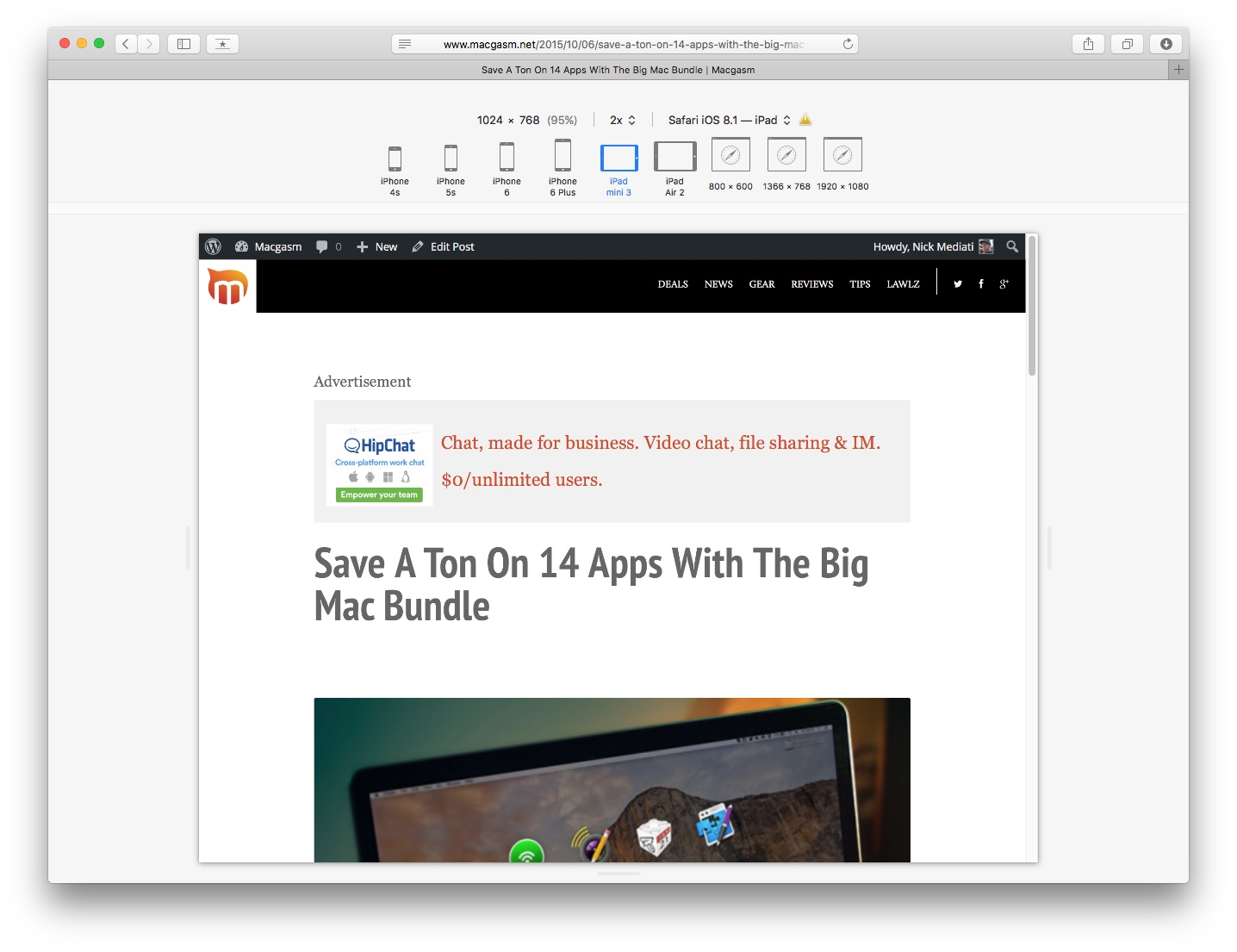 A Macgasm article page, as viewed in responsive design mode.
