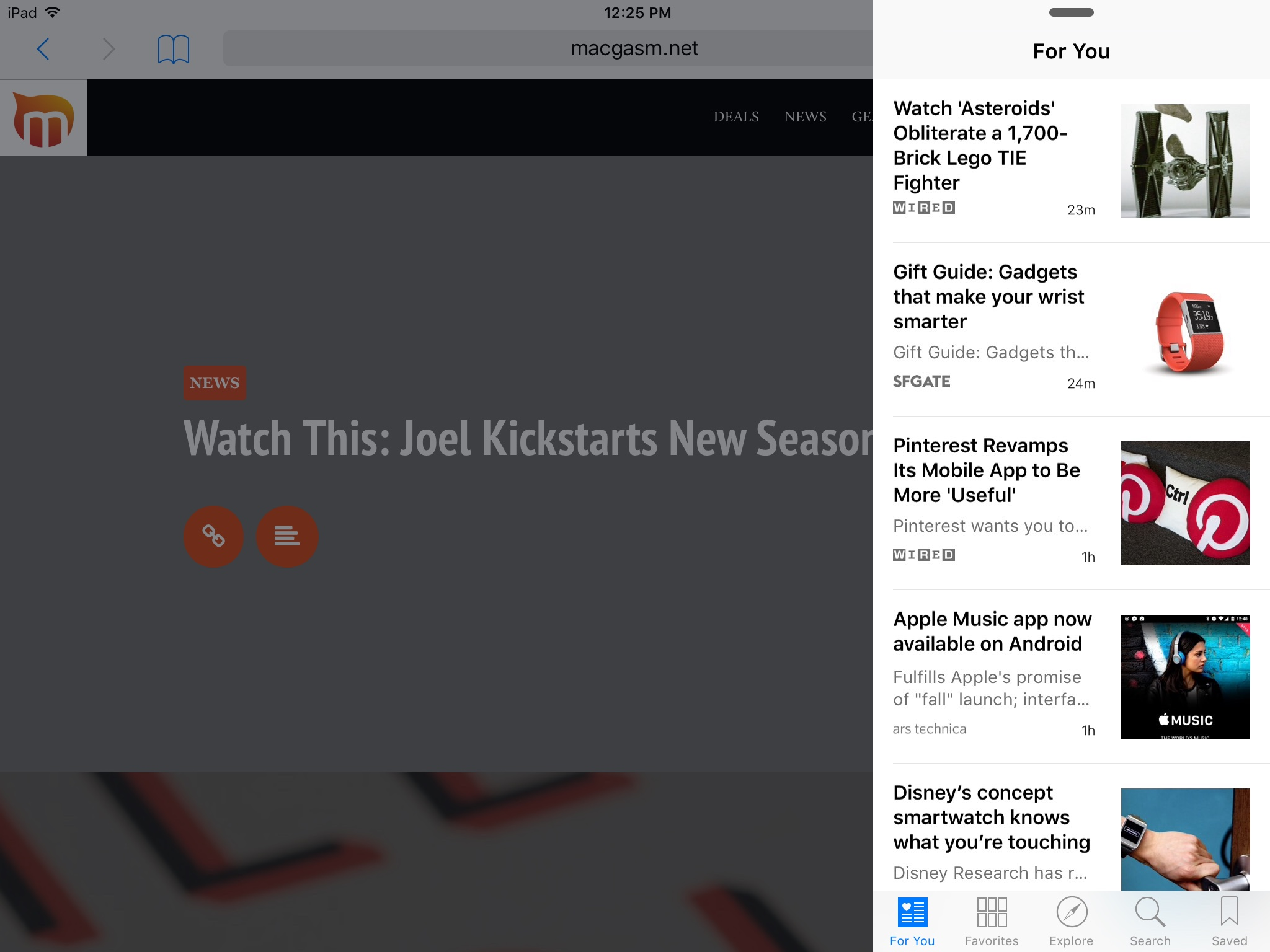 Browsing through the News app in Slide Over view.