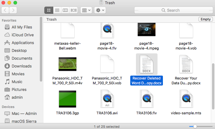 Recover files from trash