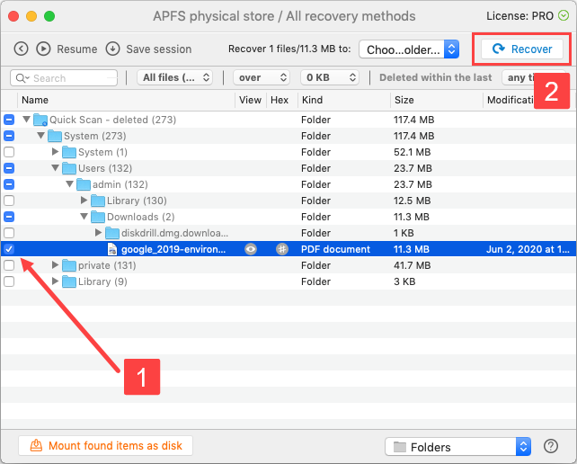 Select Files for Recovery