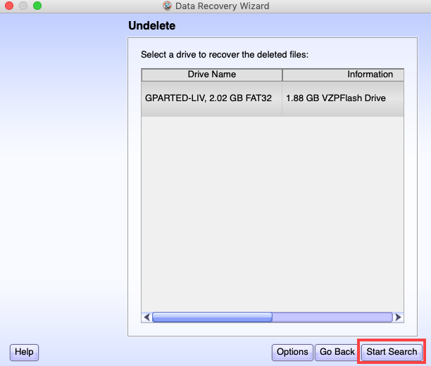 Start Searching the Files for Recovery