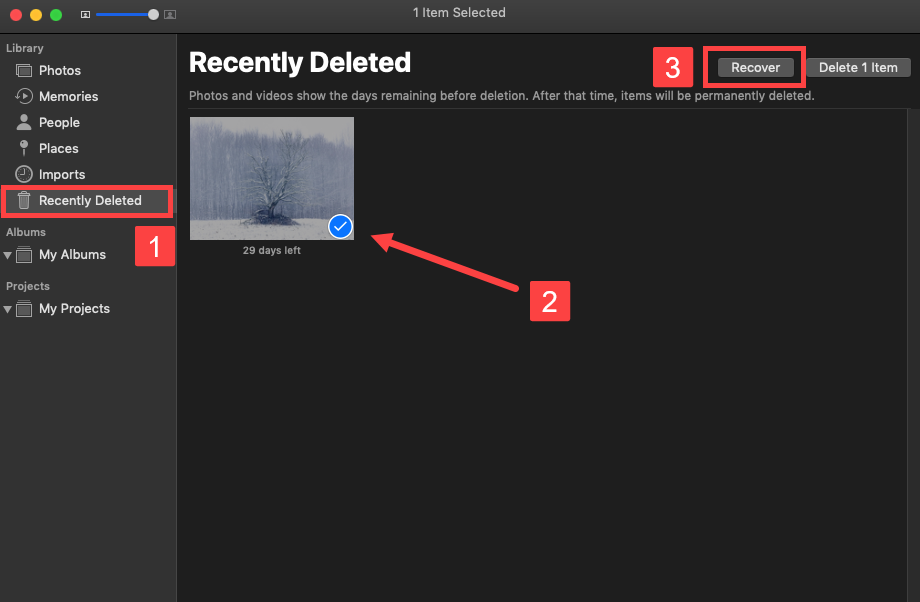 How to recover a recently deleted photo on a Mac without using a third party software: If you are within 30 days, you will find the file on the Recently Deleted folder on your Mac