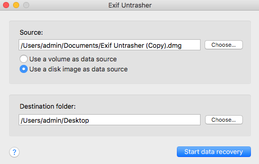 Exif Untrasher data recovery