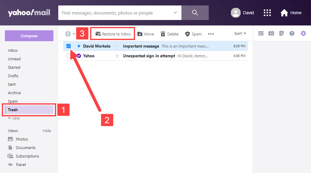 Recover deleted yahoo emails