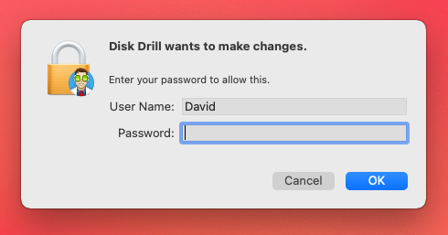 disk drill password prompt