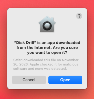 open disk drill confirmation