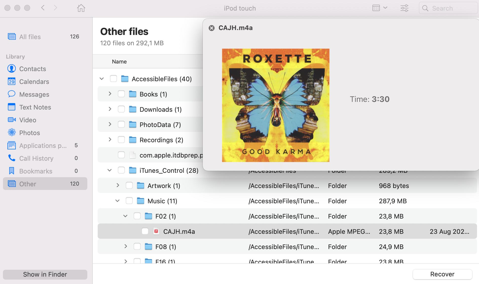 restore deleted ipod touch music via disk drill
