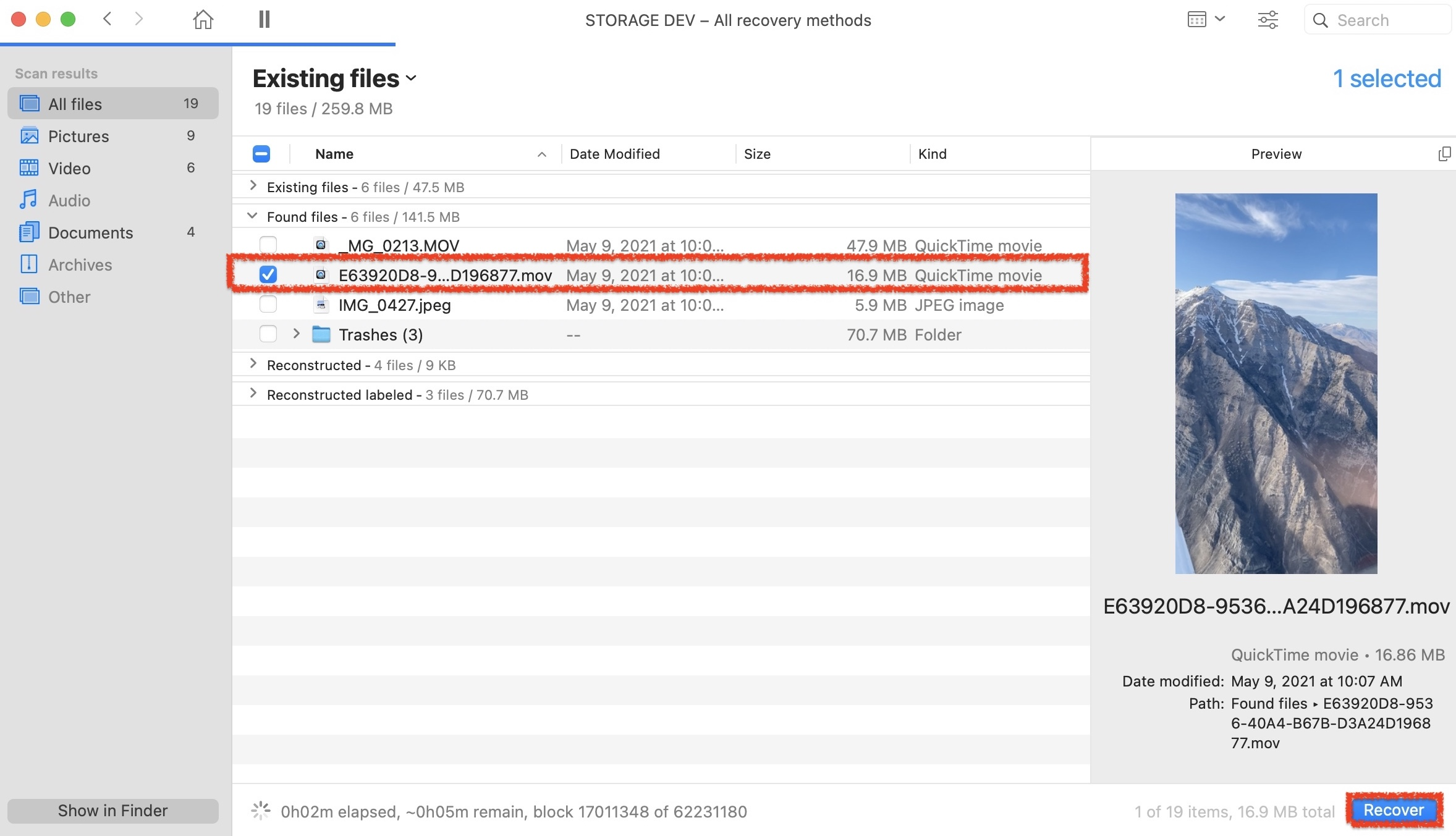 recovering files in disk drill