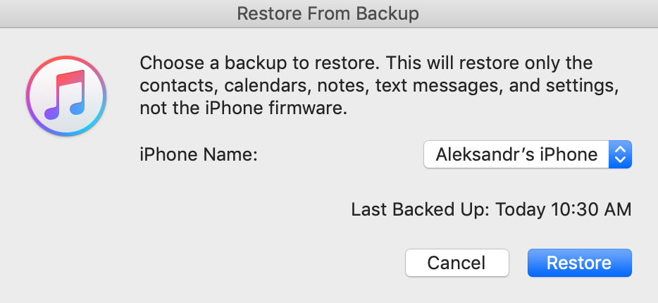 click on Restore Backup