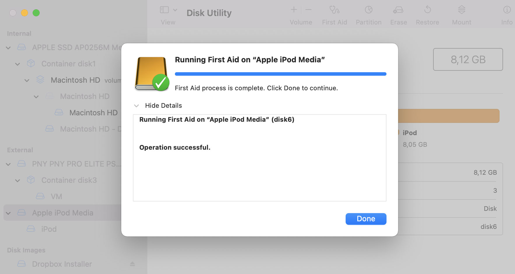 scan ipod classic in disk mode step 2